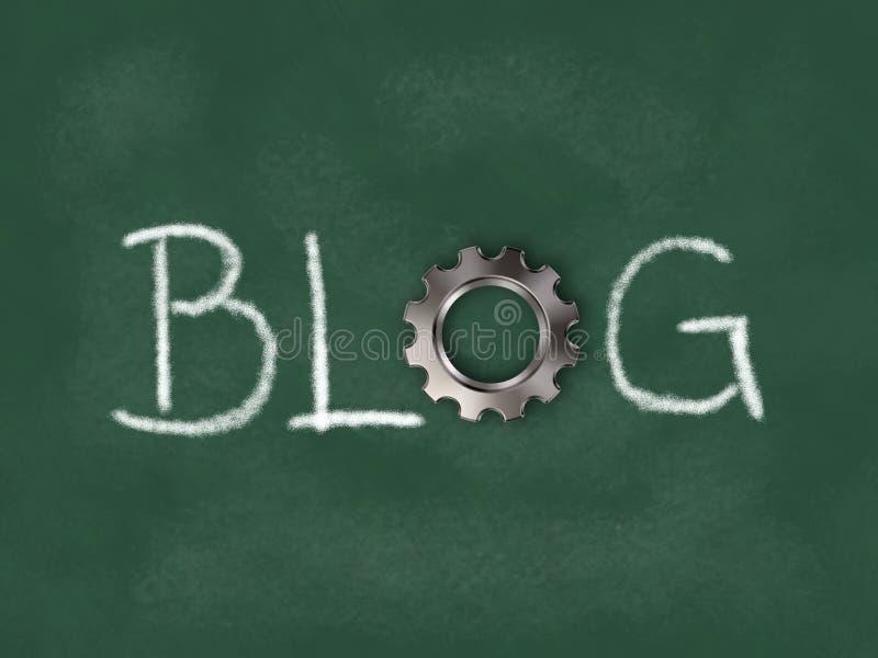 Słowo blog z przekładni kołem na chalkboard ilustracja wektor