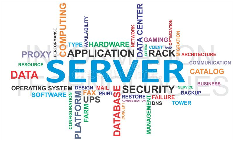 Słowo chmura - serwer royalty ilustracja