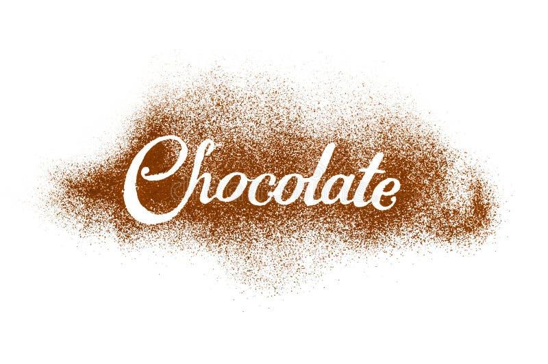 Słowo czekolada pisać kakaowym proszkiem fotografia royalty free