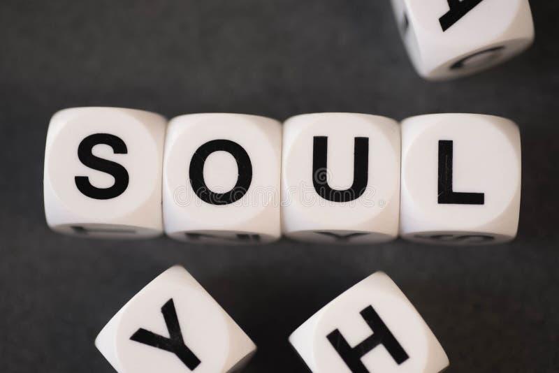 Słowo dusza na zabawkarskich sześcianach obraz royalty free