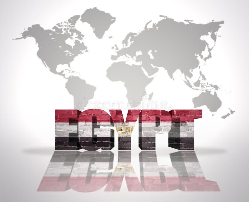 Słowo Egipt na światowej mapy tle ilustracji