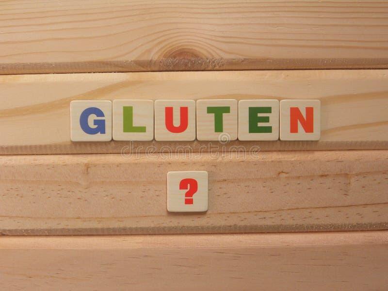 Słowo Gluten ze znakiem zapytania obraz royalty free