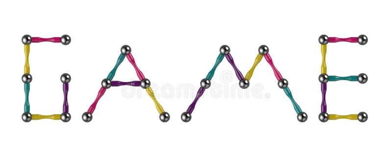 Słowo gra barwioni kije i piłki, multicolor elementy magnesowy konstruktor świadczenia 3 d ilustracji