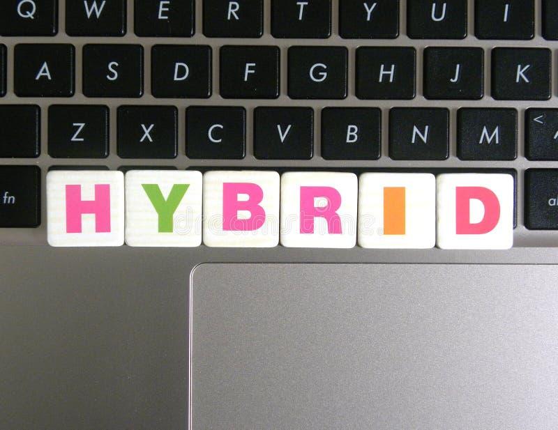 Słowo hybryd na klawiaturowym tle obrazy royalty free