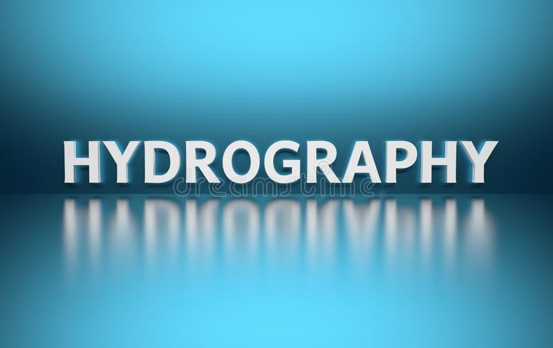 Słowo hydrografia na błękitnym tle royalty ilustracja
