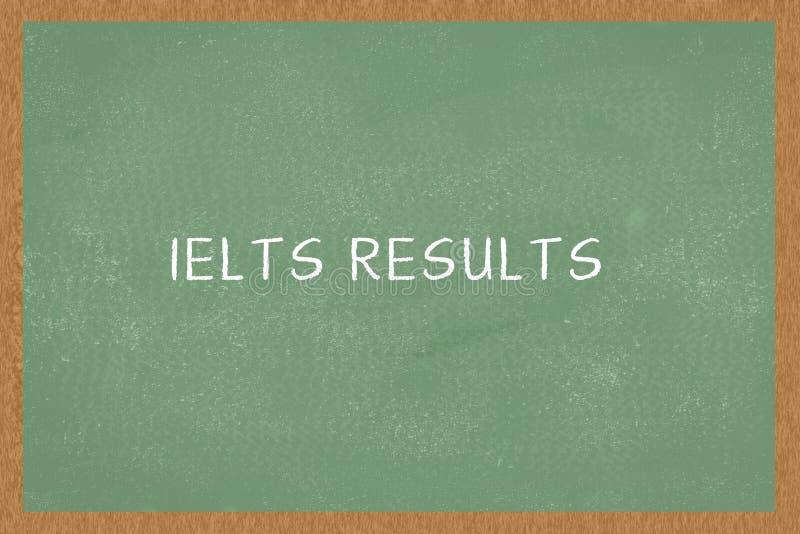 Słowo IELTS WYNIKA Zielonego koloru Chalkboard tło IELTS egzamin, zdjęcie royalty free