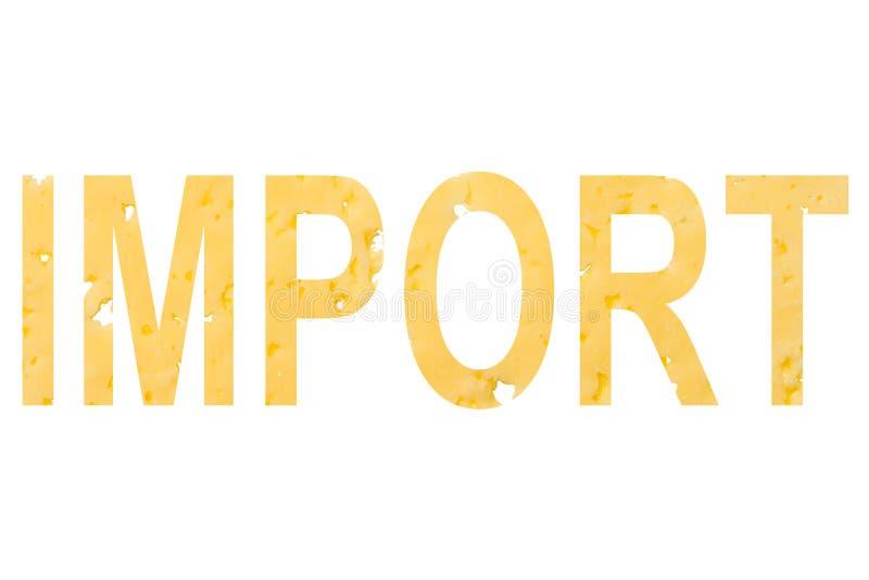 Słowo import ciie z sera, jako symbol importować ser od zagranicy na białym odosobnionym tle obrazy royalty free