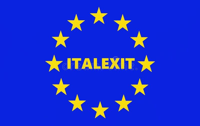 Słowo Italexit po środku unii europejskiej flagi royalty ilustracja