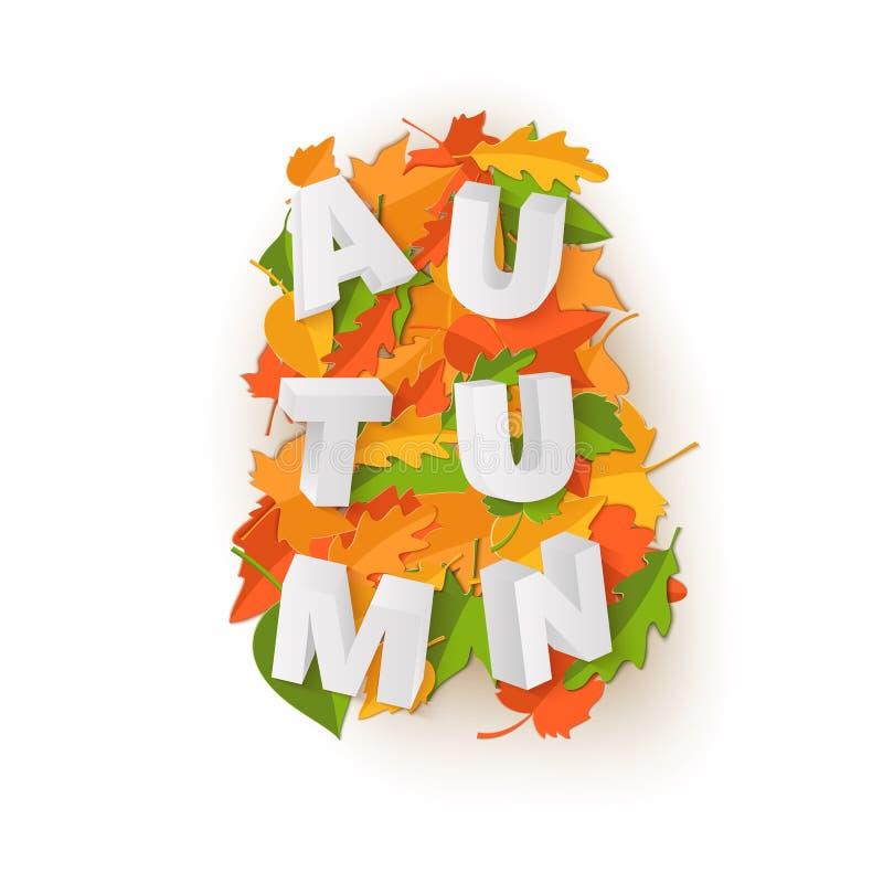 Słowo jesieni skład z zielonymi żółtymi czerwonymi liśćmi na białym tle w papieru cięcia stylu Spadku rzemiosła liść 3d ilustracja wektor