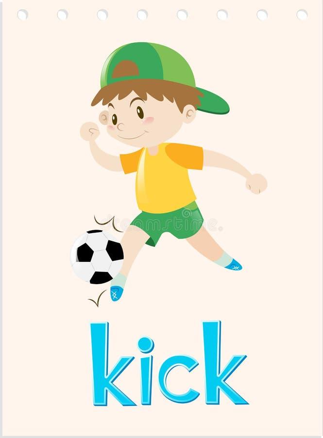 Słowo karta z chłopiec kopania piłką royalty ilustracja