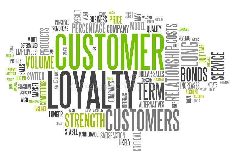 Słowo klienta obłoczna lojalność ilustracji
