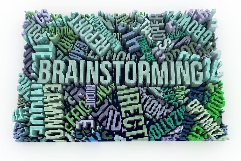 Słowo kluczowe Brainstorming Geometrycznej struktury blok Dla grafiki royalty ilustracja