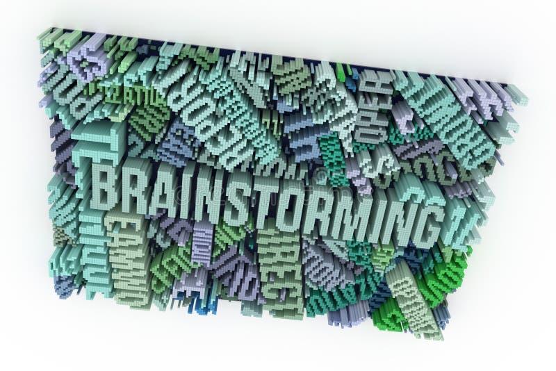 Słowo kluczowe Brainstorming Kolorowy 3d rendering Kształta compositi ilustracji