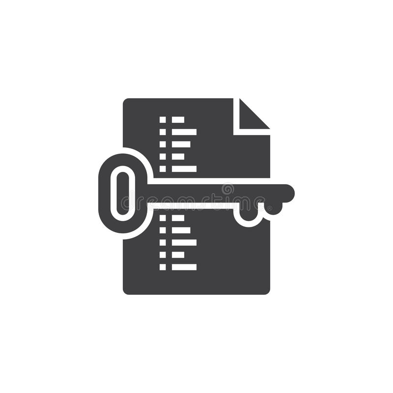 Słowo kluczowe listy symbol Klucza i dokumentu ikony wektor, wypełniający mieszkanie ilustracji