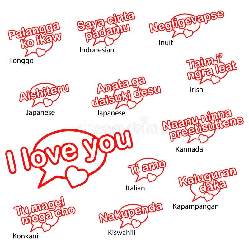 Słowo kocham ciebie w różnych językach ilustracji