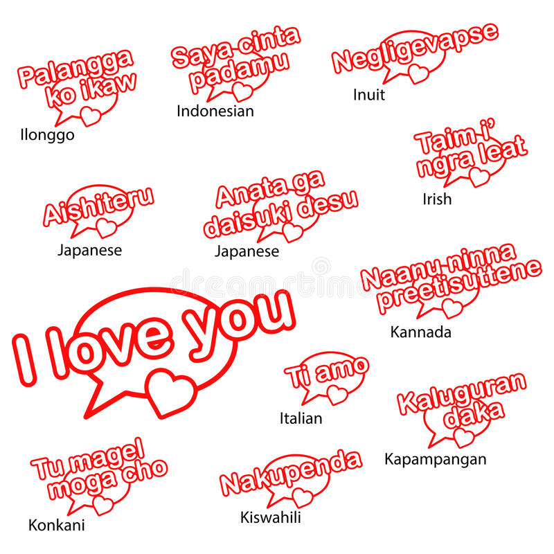 Słowo kocham ciebie w różnych językach royalty ilustracja