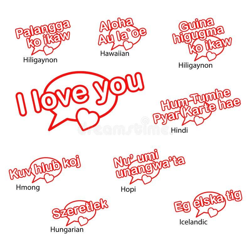 Słowo kocham ciebie w różnych językach, miłości concep ilustracji