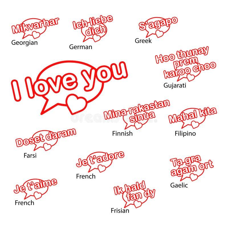 Słowo kocham ciebie w różnych językach, miłości pojęcie ilustracji
