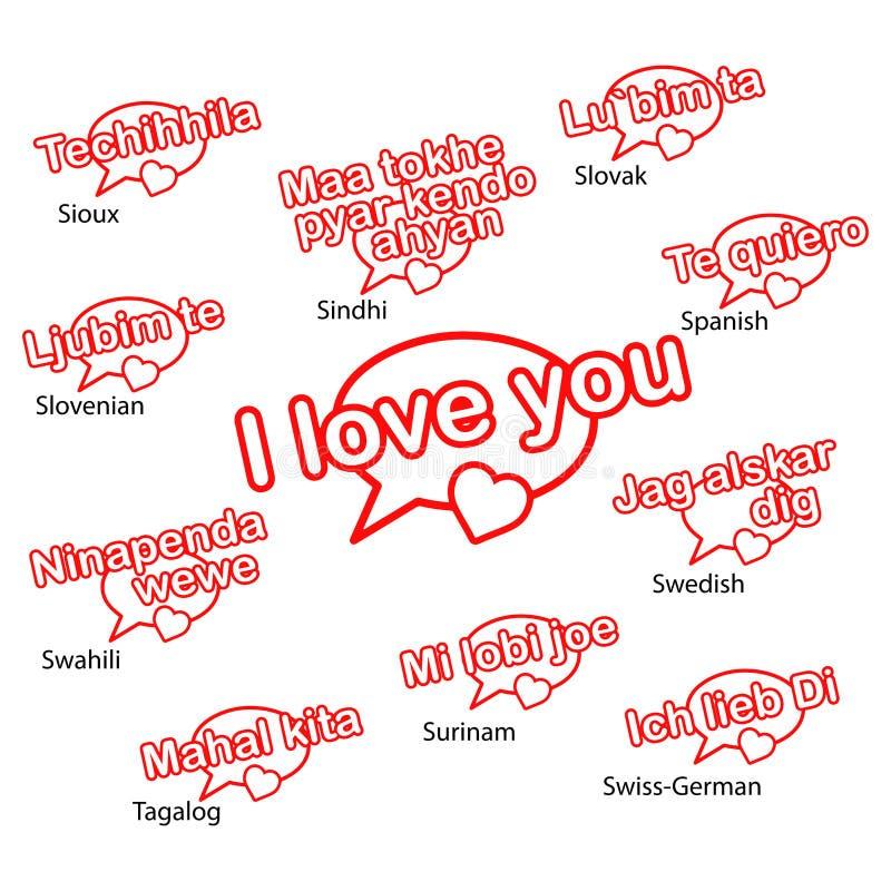 Słowo kocham ciebie w różnych językach, miłości pojęcie ilustracja wektor