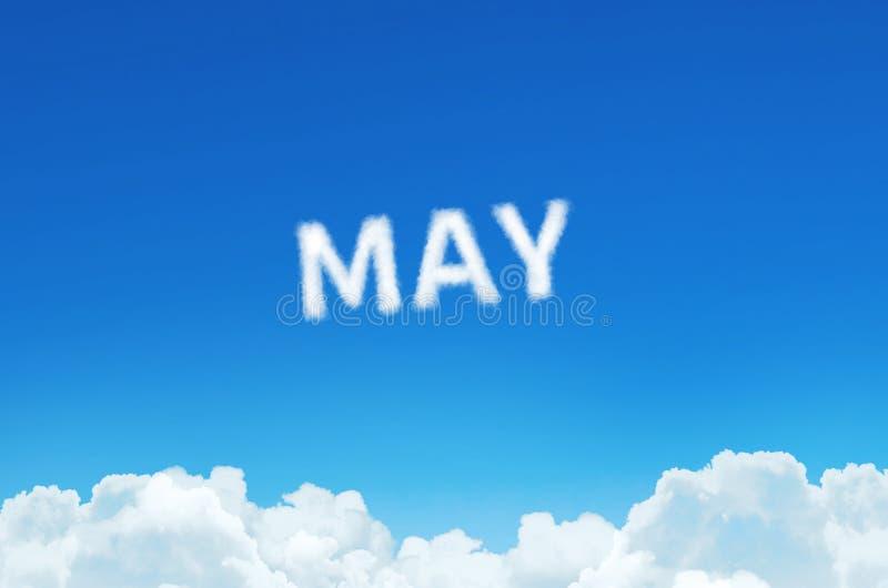 Słowo Maj robić chmury dekatyzuje na niebieskiego nieba tle Miesiąca planowanie, rozkładu zajęć pojęcie royalty ilustracja