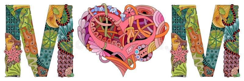 Słowo mama z kształtem serce Wektorowy dekoracyjny zentangle przedmiot ilustracja wektor