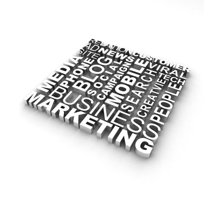 Słowo marketingowa Chmura royalty ilustracja