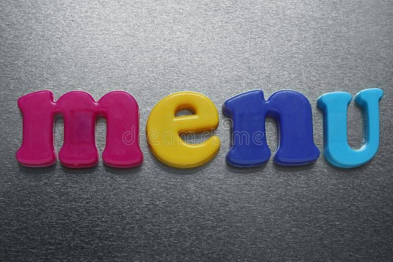 Słowo menu dalej zdjęcia stock