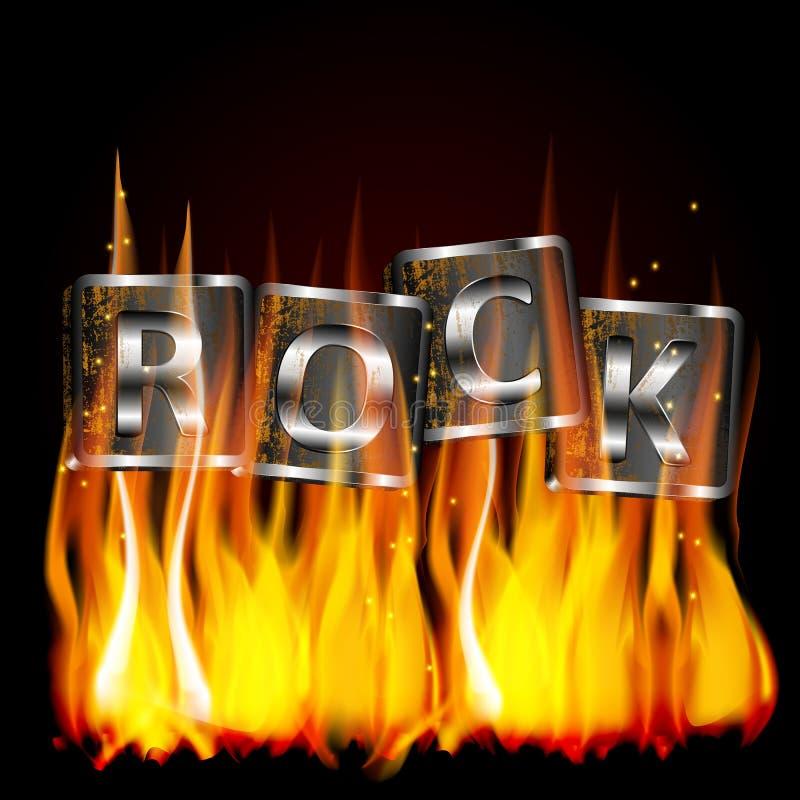 Słowo metalu rockowy płomień fotografia stock