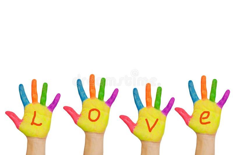 Słowo miłość pisać na rękach zdjęcie royalty free