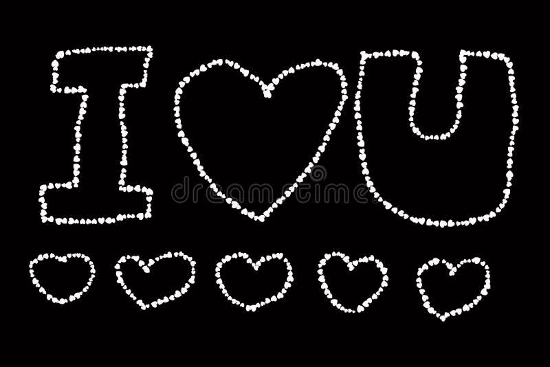 Słowo miłość robić serce kształty odizolowywający na czarnym tle ilustracji