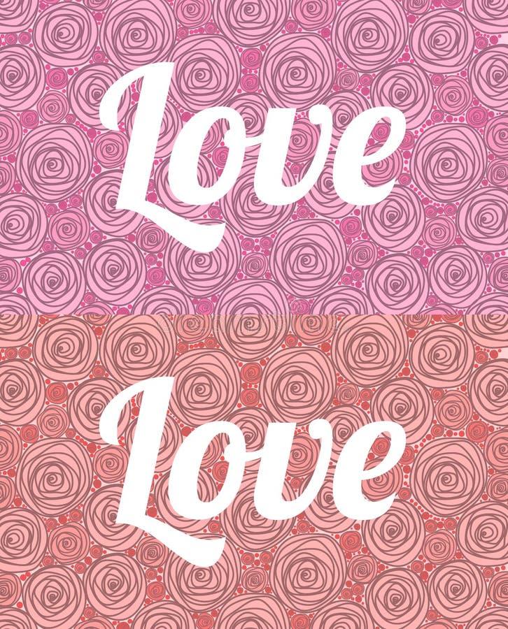 Słowo miłość w Angielskim na tle malować róże czerwone i różowe ilustracji
