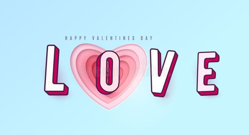 Słowo miłość z 3d skutka listami Serce czerwieni papierowe rżnięte wielo- menchie barwią warstwy ilustracja wektor
