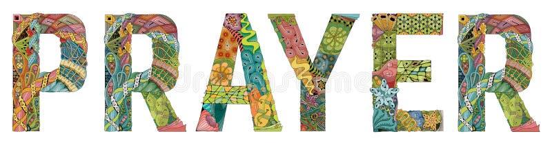 Słowo modlitwa Wektorowy dekoracyjny zentangle przedmiot dla deoration ilustracji
