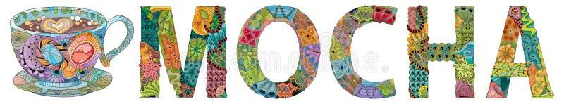 Słowo mokka z filiżanki sylwetką Wektorowy dekoracyjny zentangle przedmiot dla dekoraci royalty ilustracja
