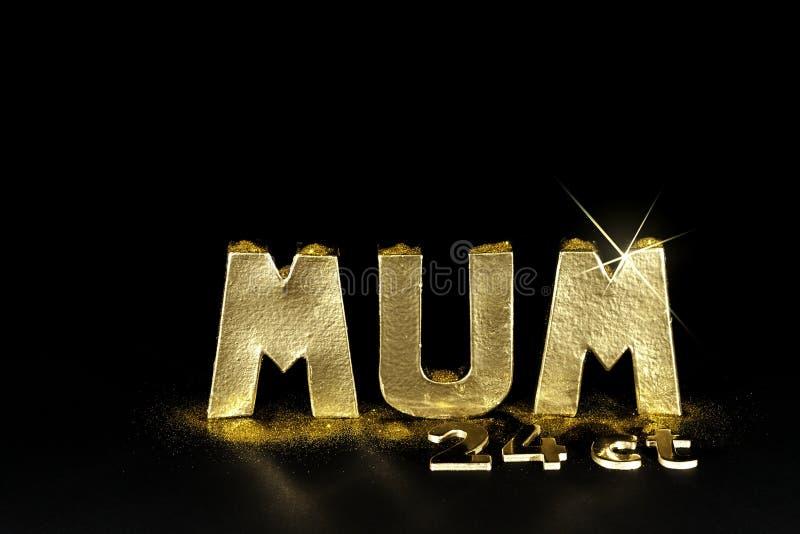 Słowo MUM Warty jej ciężar w 24ct złocie fotografia stock