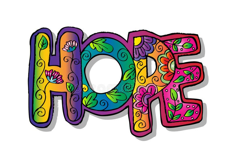 Słowo nadziei zentangle stylizujący ilustracji