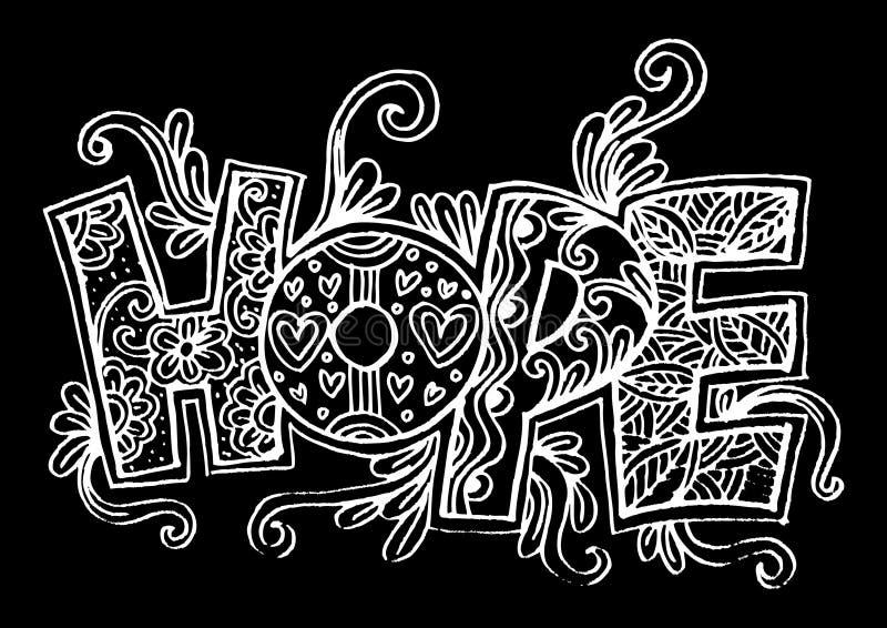 Słowo nadziei zentangle stylizujący royalty ilustracja