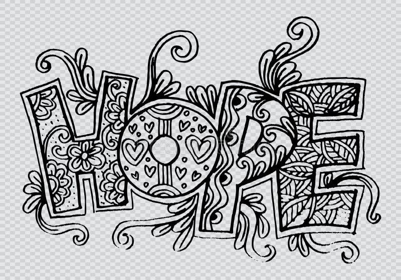 Słowo nadziei zentangle stylizujący ilustracja wektor