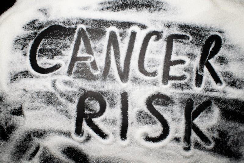 Słowo nowotworu ryzyko pisać z cukierem i w, zdrowie dotyczy conc obrazy stock