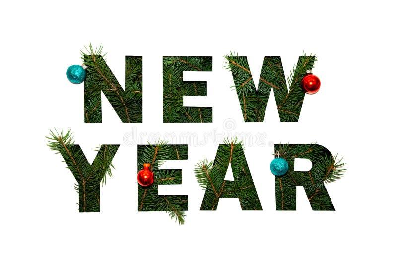 Słowo nowy rok z Zieloną jodłą Rozgałęzia się na Lekkim tle Kreatywnie natury pojęcie Minimalny mieszkanie nieatutowy zdjęcie royalty free