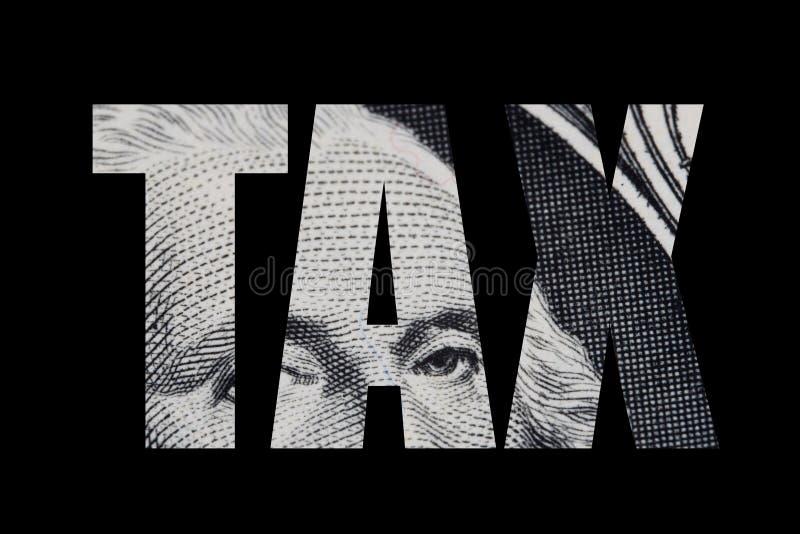 Słowo obniżka podatkowa z dolarowego rachunku royalty ilustracja
