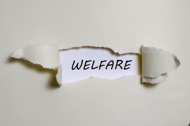 Słowo opieka społeczna pojawiać się za poszarpanym papierem fotografia royalty free