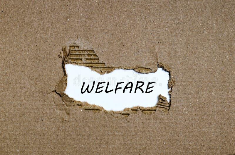 Słowo opieka społeczna pojawiać się za poszarpanym papierem obraz stock