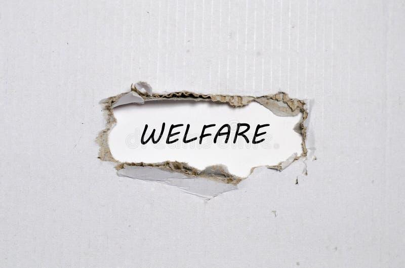 Słowo opieka społeczna pojawiać się za poszarpanym papierem zdjęcia stock