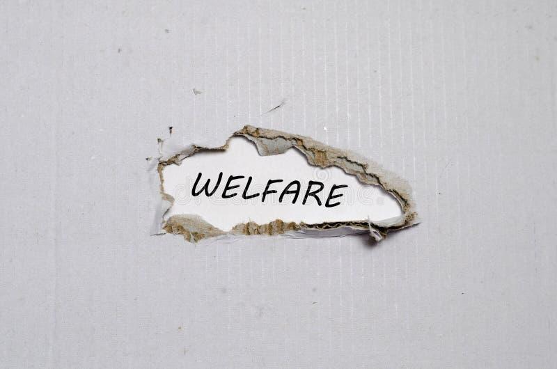 Słowo opieka społeczna pojawiać się za poszarpanym papierem zdjęcie royalty free