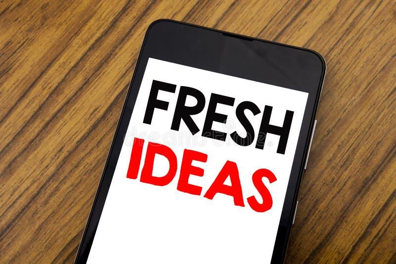 Słowo, pisze handwriting Świeżych pomysłach Biznesowy pojęcie dla Myślącej inspiraci Inspiruje twórczość Pisać na telefonu komórk zdjęcia royalty free