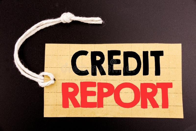 Słowo, pisze Kredytowym raporcie Biznesowy pojęcie dla online sprzedaż finanse wynika czeka pisać na metka papierze na czarnym ro ilustracja wektor