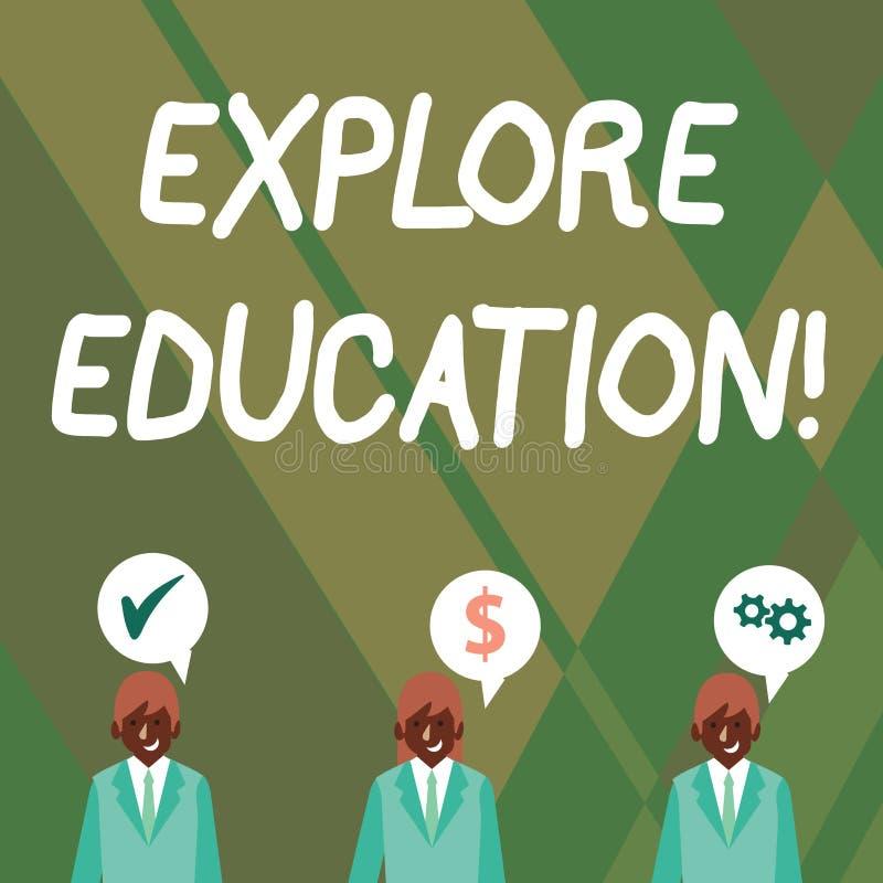 Słowo pisze tekscie Bada edukację Biznesowy pojęcie dla Odkrywam sposoby nabywanie umiejętności lub wiedzy biznesmeni ilustracji