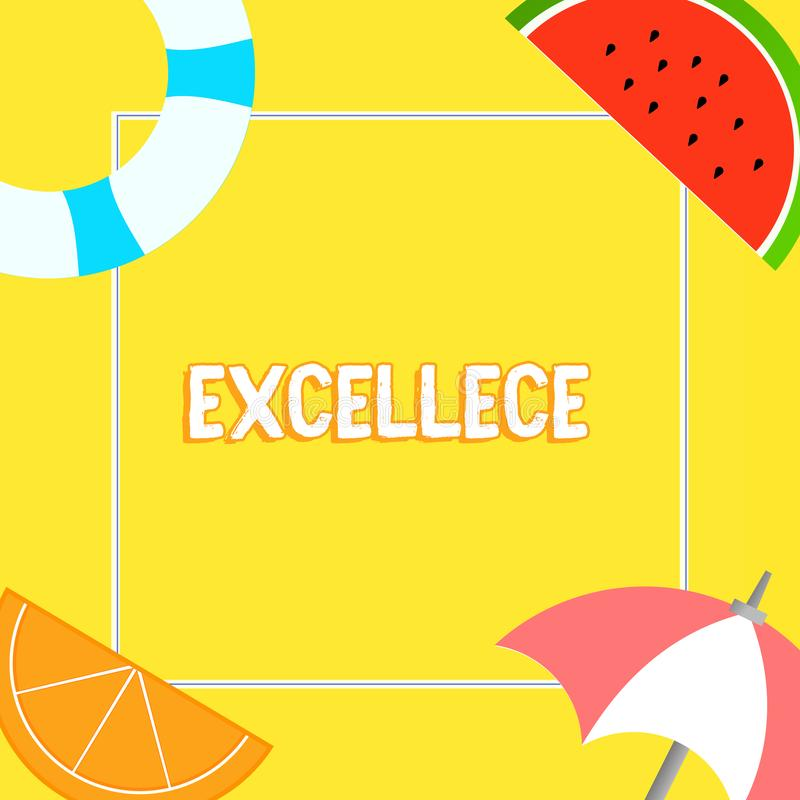 Słowo pisze tekscie Excellece Biznesowy pojęcie dla ilości być znakomitymi lub niezwykle dobrymi Pięć gwiazd rzeczami ilustracja wektor