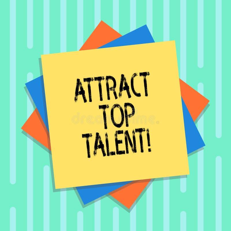 Słowo pisze tekscie Przyciąga Odgórnego talent Biznesowy pojęcie dla wyznaczać pracownika który umiejętności i dobrą potencjalną  royalty ilustracja